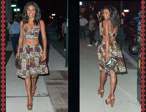 Gabrielle Union in Matching African Print Crop Top and Skirt