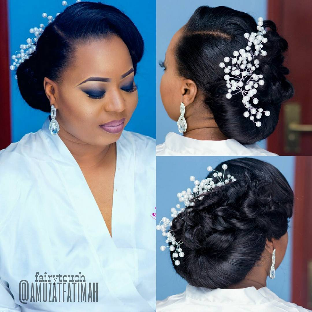 Pin It 16 Gorgeous Wedding Hairstyles For Nigerian Brides By Hair Stylist Amuzat Fatimah Of Fairytouch Salon