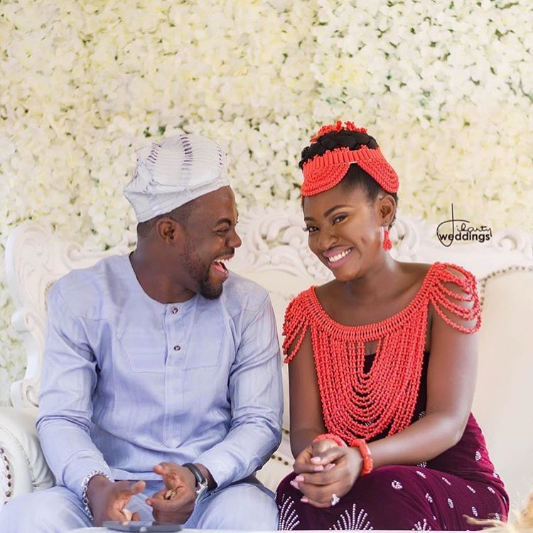 """The Real African Queen"" – Yvonne Jegede Traditional Edo Wedding To Her African King Kunle Fawole!"