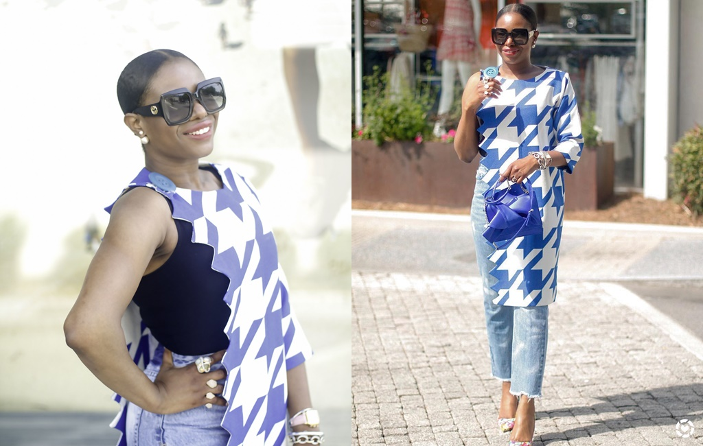 LOTD: Bold Gingham Print One Sleeve Jacket With Monica Awed-Etuk!
