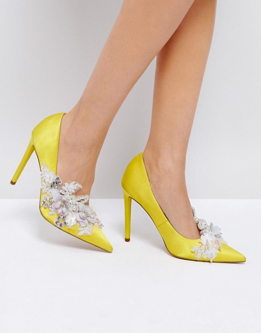 Style Steal: You Can Own Balenciaga Sequin Embellished Look Alike Satin Pumps For Less Via Asos!