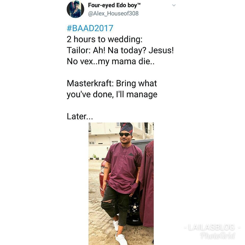 #Baad2017: You Will Almost Fall Off Your Chair When You Read The Savage Tweets About MasterKraft's Outfit!
