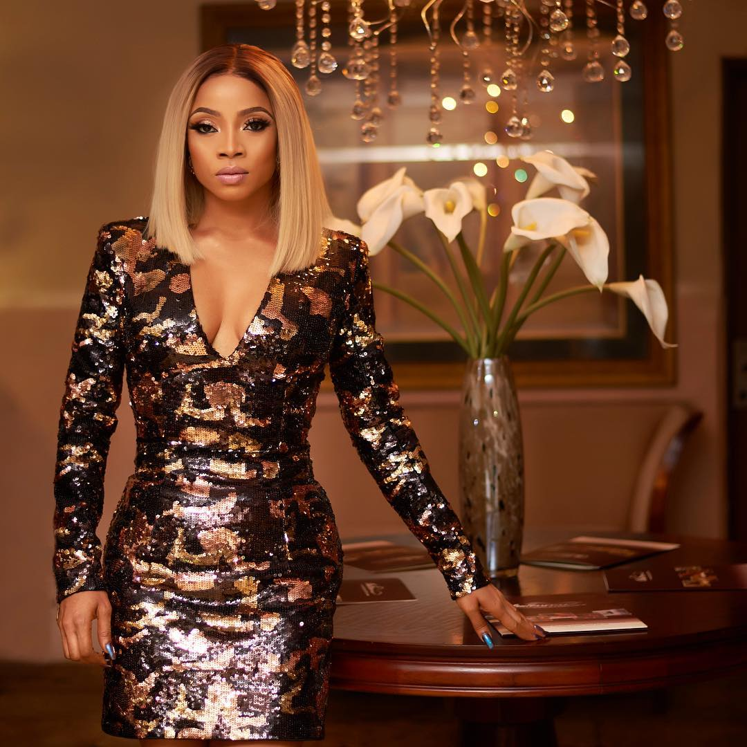 Look Of The Day: Toke Makinwa In Balmain Camouflage Sequin Dress Which Costs $3,365!
