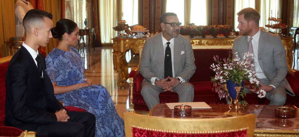 Pictures Of Prince Harry And Meghan Markle Meeting With King Mohammed VI Of Morocco